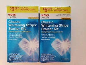LOT 2 CVS Health Classic Whitening Strips Starter Kit 5 Treatments each exp01/22
