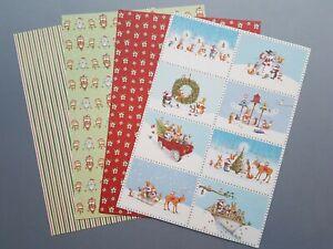 2 packs 4 A4 Christmas Craft Paper Animal Owl Fox Badger Hedgehog Mole Robin
