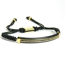 Men And Womens Bracelet Large Plate Inlaid Black Crystal 24k Yellow Gold Plating
