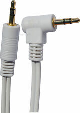 Stereo Right Angled Male Jack to Straight Jack Cable 3.5mm White 10m 10 Metre