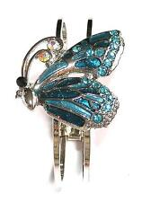 BRACELET Hinged Bangle Rhinestones & Enamel TURQUOISE BLUE BUTTERFLY