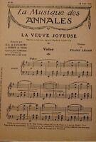 LEHAR/CAILLAVET/DE FLERS la veuve joyeuse VALSE PARTITION 1925 MUSIQUE RARE++