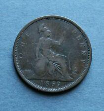 More details for 1869 victoria bun head penny rare