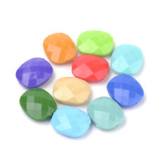 50pcs Colorful Acrylic Rectangle Beads Faceted Opaque Finish Loose Spacer 23.5mm