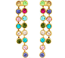 Made With Multi Coloured Swarovski Rhinestones Dainty Small Drop Dangle Earrings