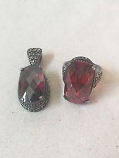 Garnet Gemstone Pendant Silver Necklace and Earrings Set
