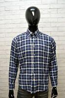 Camicia Uomo TOMMY HILFIGER Taglia L Maglia Polo Shirt Quadri Hemd Cotone Blu