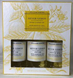 Set Of 3 Williams Sonoma Meyer Lemon Hand & Dish Soap, Countertop Spray Each 8oz