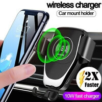 10W QI Wireless Fast Charger Car Mount Holder Stand For iPhone 11 XS Samsung S20
