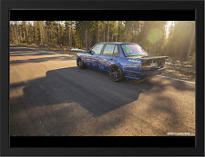 BLUE TUNED BMW 3 SERIES NEW A3 FRAMED PHOTOGRAPHIC PRINT POSTER