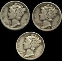 1942 P D S Mercury Dime Lot , 90% Silver Three Coin Set