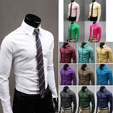 Men's Fashion Casual Candy Color Long Sleeve Slim Fit Dress Shirt Top Deluxe