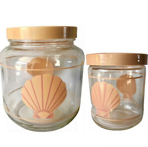 Lot Of 2 Glass Cookie Jars Food Storage Containers Plastic Lid Scallop Seashell