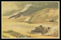 1940 Germany 3rd Reich Postcard WWII Hitler North Africa Rommel Tanks Advance