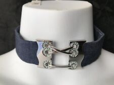 CHARTAGE LOVELY DIAMANTE CRYSTAL ENCRUSTED CROSS BUCKLE DENIM CHOKER NECKLACE