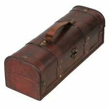 New listing Vintage Wine Box Treasure Chest Box 34x11.8x11cm for Home Decor Brown