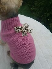Dusky pink hand knitted coat/sweater/jumper for small dog/cat. Animal print bow