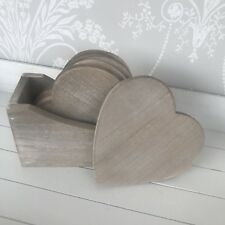 Rustic Heart Shaped Wooden Coasters With Stand Set Of 6 Home Gift
