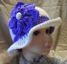 Purple White CHILD SPRING WINTER CLOCHE BEANIE CAP FLAPPER HAT  HAND CROCHET new
