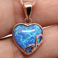 "Blue Opal Pendant Necklace 18"" Chain 14K Rose Gold Plate Love Heart Jewelry Gift"
