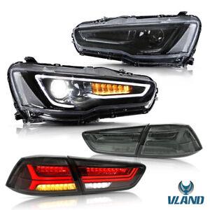 VLAND LED Headlights & Tail Lights For Mitsubishi Lancer EVO X 2008-2017 Somked