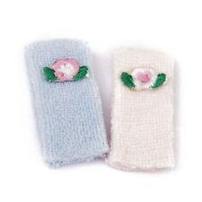 1/12 Toalla de baño en miniatura de casa de muñecas - Rosado y azul F2X8
