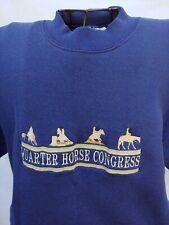 QUARTER HORSE CONGRESS BIG LOGO Sm SWEATSHIRT BLUE FLEECE COTTON BLEND EXCELLENT
