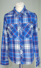 Camicia a quadrettoni tartan BANDIT blu bianco rosso S quadri scacchi