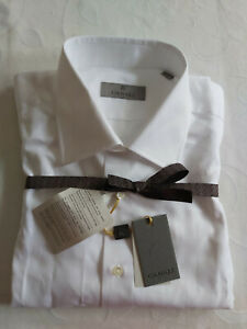 CANALI PRIMA COTTON WHITE SINGLE CUFF DRESS SHIRT SIZE 17 INCH COLLAR BRAND NEW.