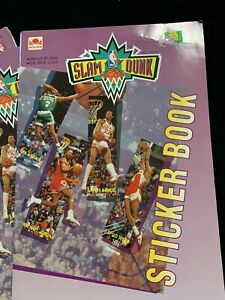 NBA Basketball 1992 Official  Slam Dunk Sticker Book Dee Brown Mike Jordan New!