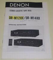 Denon DR-M12HX DR-M14HX Stereo Cassette Deck Original Owners Manual
