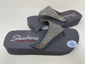 NEW! Skechers Women's Vinyasa Slip On Thong Sandals Pewter #31601 203C tz