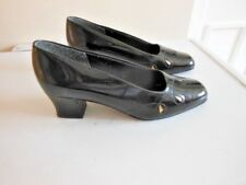 REFLECTIONS WIDER FIT BLACK PATENT SLIP-ON LOW HEELED SHOES SIZE 6