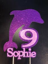 Glitter Dolphin 🐬  Cake Topper with Name and Birthday number