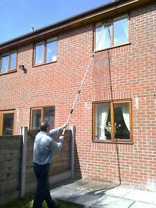 13FT WATER FED WINDOW CLEANING POLE EQUIPMENT TELESCOPIC EXTENSION  BRUSH KIT