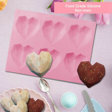 Silicone 6 Cavity 3D Diamond Heart Mold Chocolate Cake Pudding Baking Tool Mould