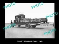 OLD POSTCARD SIZE PHOTO OF THE PENFOLDS WINES TRUCK SYDNEY NSW c1940 1