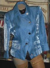 USA 8 Per Se Jacket Blazer 3/4 Slv Shimmery Blue Linen VinTage Echo Silk Scarf