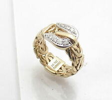 Size 7 Diamonique Clear CZ Byzantine Buckle Band Ring Real 14K Yellow Gold QVC