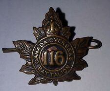 Original World War I WWI 116th Canada France Overseas Battalion Badge Authentic
