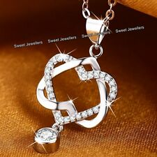 BLACK FRIDAY DEALS - Heart Silver & Crystal Diamond Necklace XMAS Gifts For Her