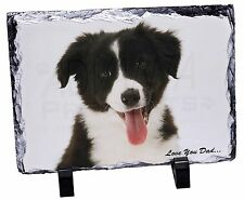 Border Collie Pup 'Love You Dad' Photo Slate Christmas Gift Ornament, DAD-17SL