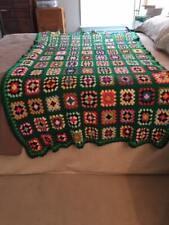 "REDUCED  Afghan VTG CROCHET Granny Squares 46"" x 76 Blanket HANDMADE Throw Quilt"