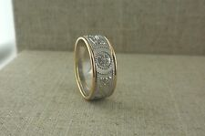 Sterling Silver Celtic Warrior Shield Wedding Ring 10K Trim Irish made BORU s 10