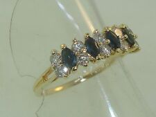BEAUTIFUL 14K SOLID GOLD APPROX. 3/4 CTW SAPPHIRE & SPARKLING DIAMOND RING! SZ 9
