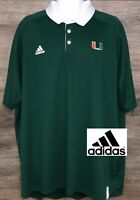 Adidas Climachill Mens Green University of Miami Performance Polo Shirt 3XL XXXL