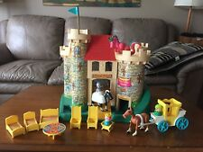 Vintage 1974 Fisher Price Little People Play Family Castle #993 WITH Pink Dragon