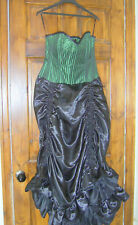Black / Green Vintage Goth Corset Dress Victorian Steampunk Vamp Whitby XXL Sz20