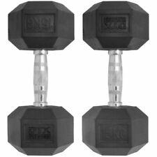 2 X 15kg Rubber Encased Dumbbell Hex Weights 30kg Dumbell/gym Workout Bodymax