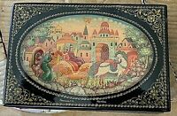 Russian Lacquer Box, Hand Painted Scene Russian Fairy Tale. Signed. 3.5x2.5x1""
